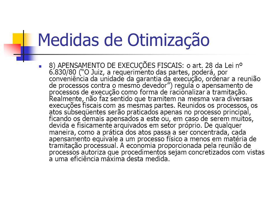 Medidas de Otimização 8) APENSAMENTO DE EXECUÇÕES FISCAIS: o art.