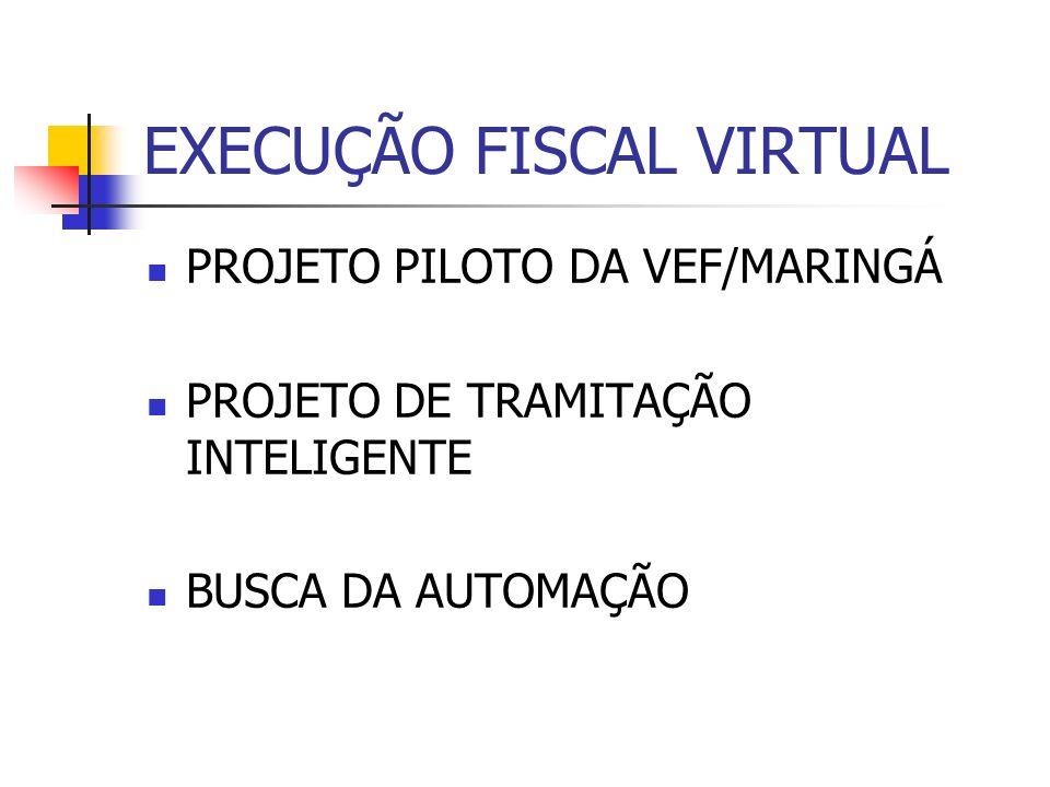 EXECUÇÃO FISCAL VIRTUAL PROJETO PILOTO DA VEF/MARINGÁ PROJETO DE TRAMITAÇÃO INTELIGENTE BUSCA DA AUTOMAÇÃO