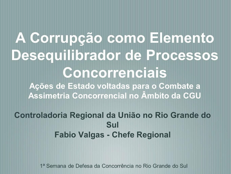 A Corrupção como Elemento Desequilibrador de Processos Concorrenciais Ações de Estado voltadas para o Combate a Assimetria Concorrencial no Âmbito da