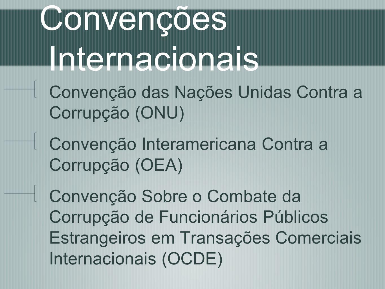 Convenções Internacionais Convenção das Nações Unidas Contra a Corrupção (ONU) Convenção Interamericana Contra a Corrupção (OEA) Convenção Sobre o Com