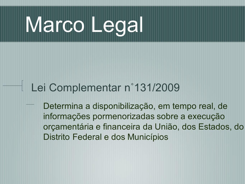 Marco Legal Lei Complementar n˚131/2009 Determina a disponibilização, em tempo real, de informações pormenorizadas sobre a execução orçamentária e fin