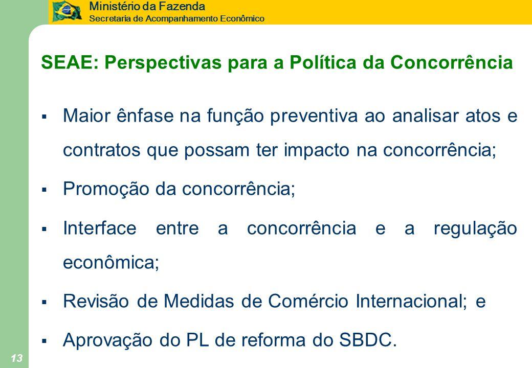 Ministério da Fazenda Secretaria de Acompanhamento Econômico 13 SEAE: Perspectivas para a Política da Concorrência Maior ênfase na função preventiva a