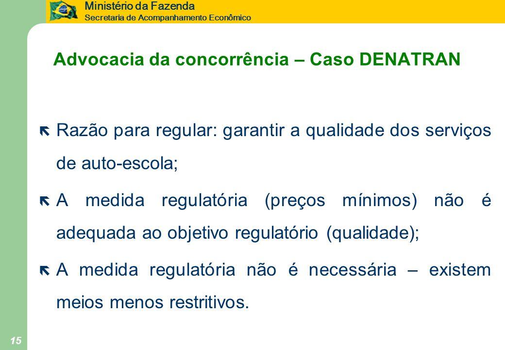 Ministério da Fazenda Secretaria de Acompanhamento Econômico 15 Advocacia da concorrência – Caso DENATRAN ë Razão para regular: garantir a qualidade d