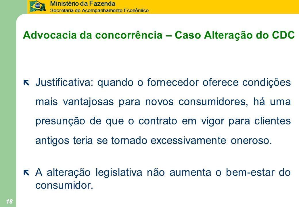 Ministério da Fazenda Secretaria de Acompanhamento Econômico 18 Advocacia da concorrência – Caso Alteração do CDC ë Justificativa: quando o fornecedor