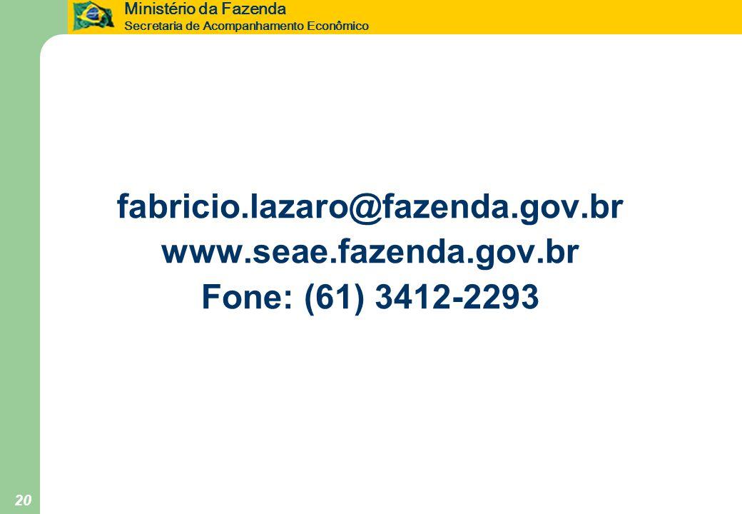 Ministério da Fazenda Secretaria de Acompanhamento Econômico 20 fabricio.lazaro@fazenda.gov.br www.seae.fazenda.gov.br Fone: (61) 3412-2293