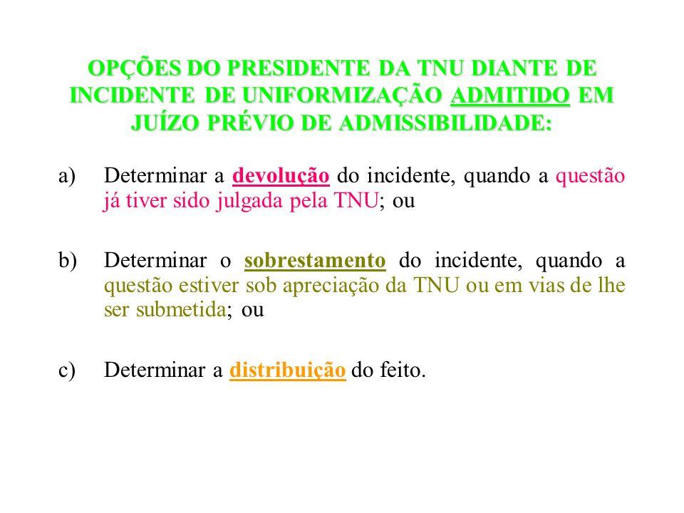 OPÇÕES DO PRESIDENTE DA TNU DIANTE DE INCIDENTE DE UNIFORMIZAÇÃO ADMITIDO EM JUÍZO PRÉVIO DE ADMISSIBILIDADE: a)Determinar a devolução do incidente, q