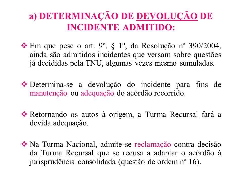 a) DETERMINAÇÃO DE DEVOLUÇÃO DE INCIDENTE ADMITIDO: Em que pese o art. 9º, § 1º, da Resolução nº 390/2004, ainda são admitidos incidentes que versam s