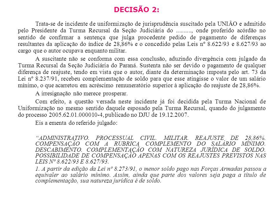 DECISÃO 2: Trata-se de incidente de uniformização de jurisprudência suscitado pela UNIÃO e admitido pelo Presidente da Turma Recursal da Seção Judiciá