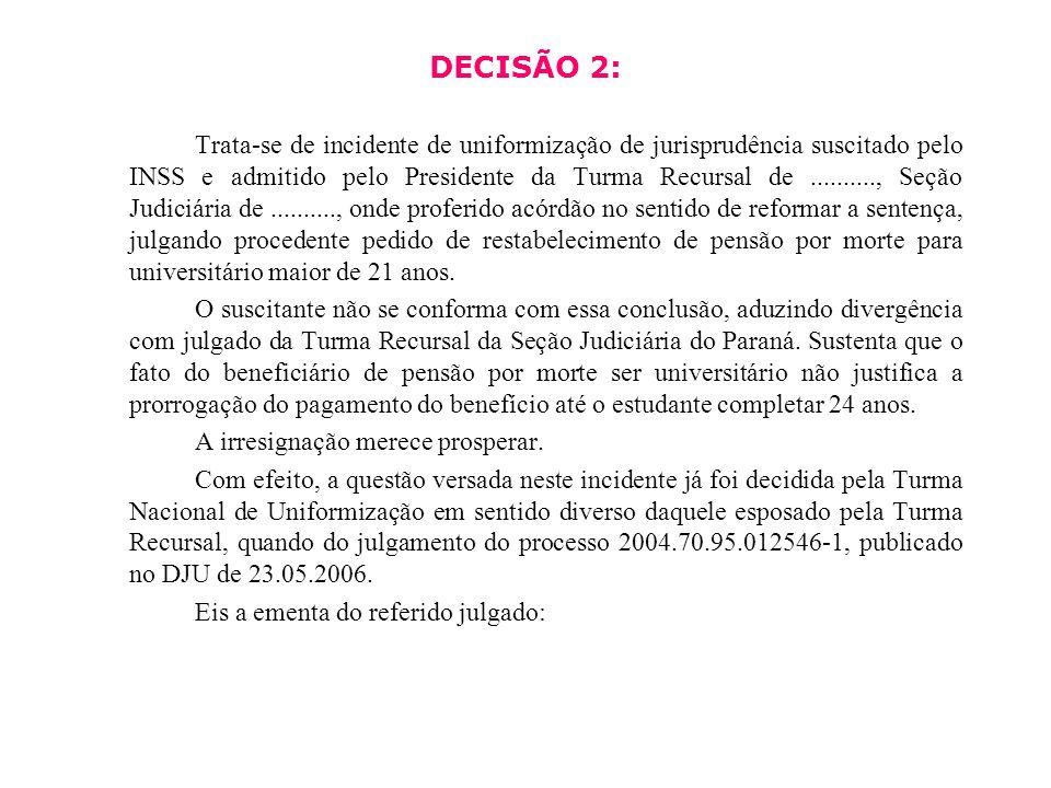 DECISÃO 2: Trata-se de incidente de uniformização de jurisprudência suscitado pelo INSS e admitido pelo Presidente da Turma Recursal de.........., Seç