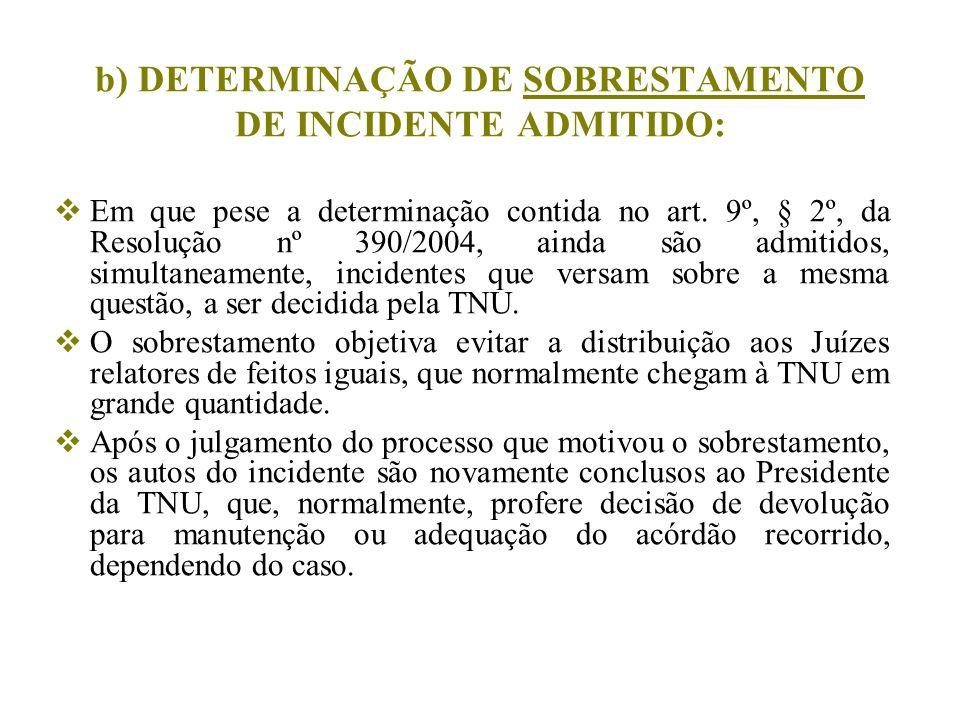 b) DETERMINAÇÃO DE SOBRESTAMENTO DE INCIDENTE ADMITIDO: Em que pese a determinação contida no art. 9º, § 2º, da Resolução nº 390/2004, ainda são admit