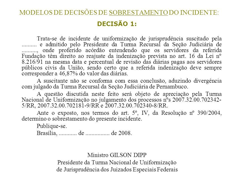 MODELOS DE DECISÕES DE SOBRESTAMENTO DO INCIDENTE: DECISÃO 1: Trata-se de incidente de uniformização de jurisprudência suscitado pela.......... e admi