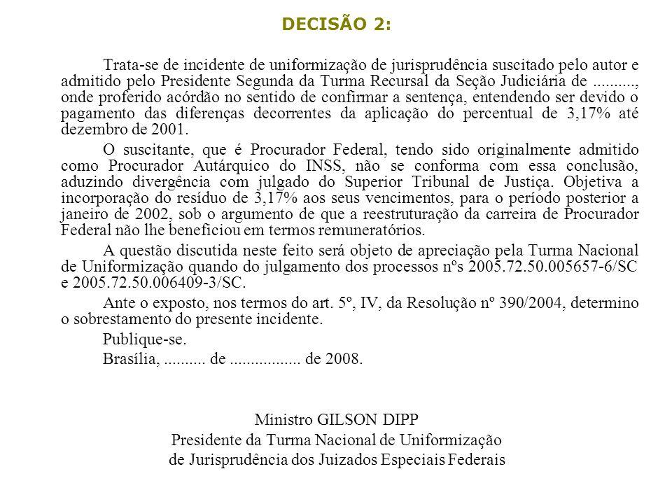 DECISÃO 2: Trata-se de incidente de uniformização de jurisprudência suscitado pelo autor e admitido pelo Presidente Segunda da Turma Recursal da Seção