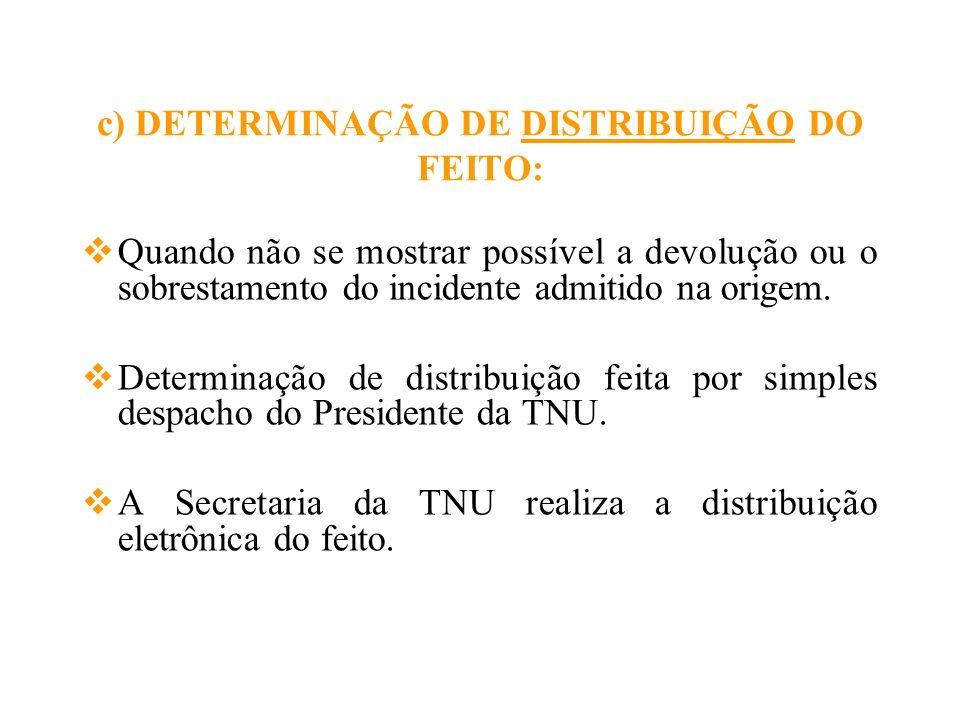 c) DETERMINAÇÃO DE DISTRIBUIÇÃO DO FEITO: Quando não se mostrar possível a devolução ou o sobrestamento do incidente admitido na origem. Determinação