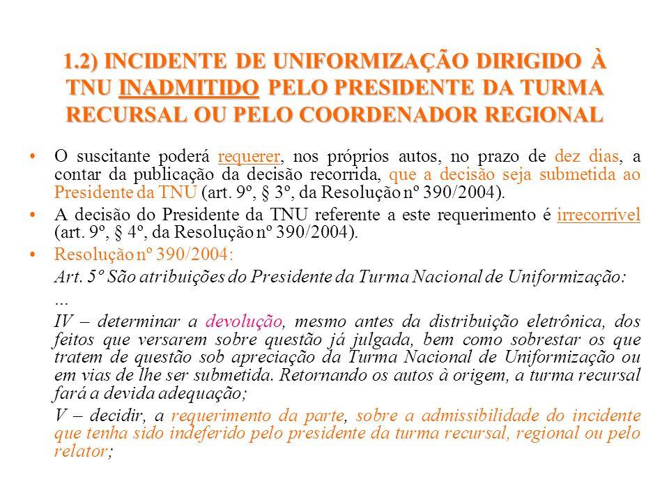 1.2) INCIDENTE DE UNIFORMIZAÇÃO DIRIGIDO À TNU INADMITIDO PELO PRESIDENTE DA TURMA RECURSAL OU PELO COORDENADOR REGIONAL O suscitante poderá requerer,