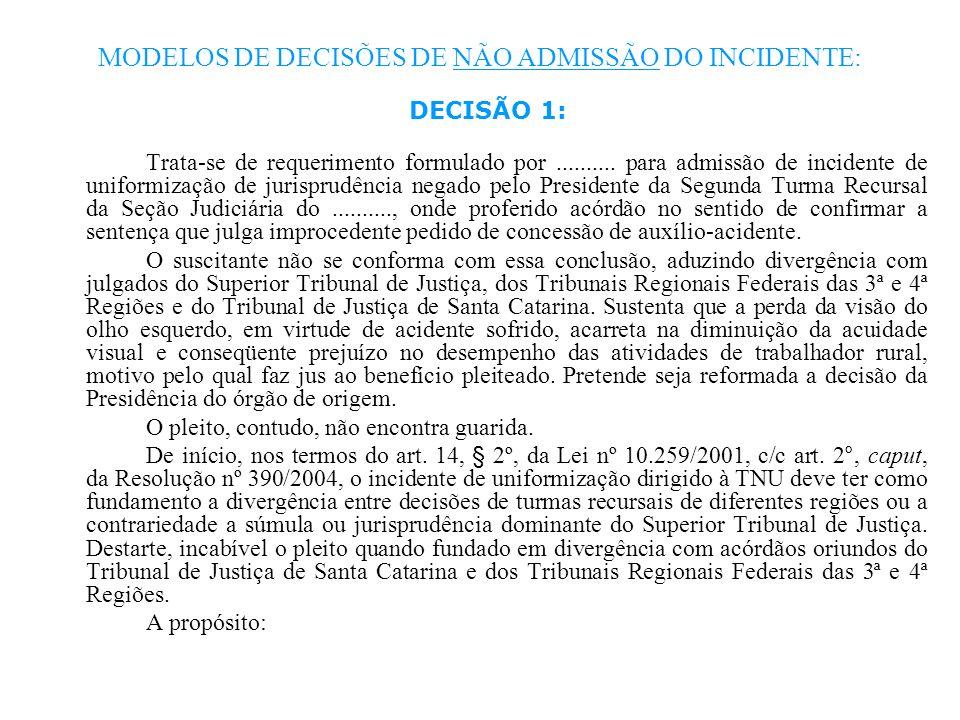 MODELOS DE DECISÕES DE NÃO ADMISSÃO DO INCIDENTE: DECISÃO 1: Trata-se de requerimento formulado por.......... para admissão de incidente de uniformiza
