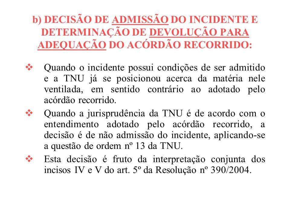 b) DECISÃO DE ADMISSÃO DO INCIDENTE E DETERMINAÇÃO DE DEVOLUÇÃO PARA ADEQUAÇÃO DO ACÓRDÃO RECORRIDO: Quando o incidente possui condições de ser admiti