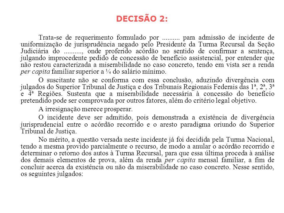 DECISÃO 2: Trata-se de requerimento formulado por.......... para admissão de incidente de uniformização de jurisprudência negado pelo Presidente da Tu