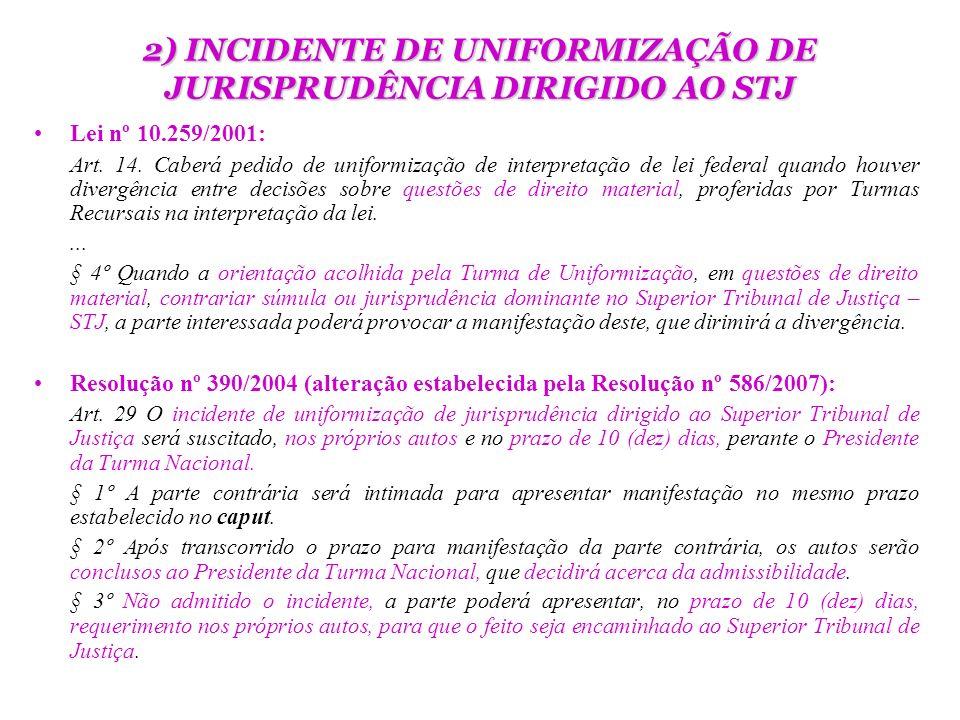 2) INCIDENTE DE UNIFORMIZAÇÃO DE JURISPRUDÊNCIA DIRIGIDO AO STJ Lei nº 10.259/2001: Art. 14. Caberá pedido de uniformização de interpretação de lei fe