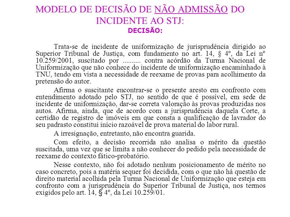 MODELO DE DECISÃO DE NÃO ADMISSÃO DO INCIDENTE AO STJ: DECISÃO: Trata-se de incidente de uniformização de jurisprudência dirigido ao Superior Tribunal