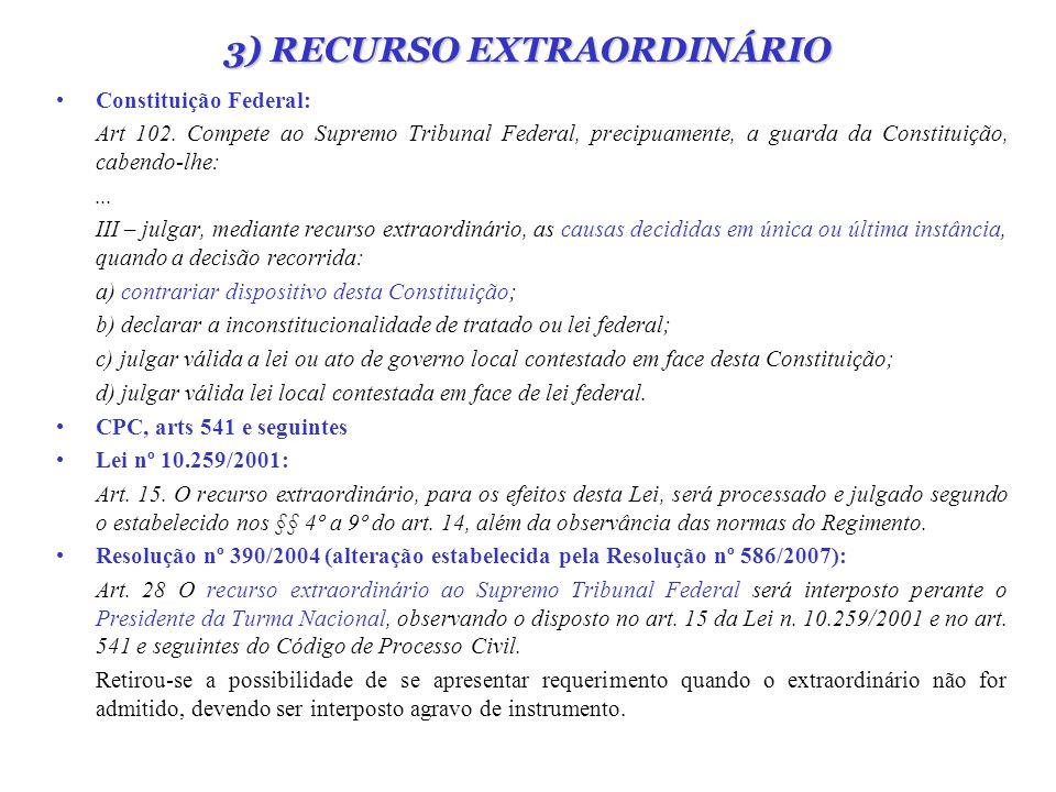 3) RECURSO EXTRAORDINÁRIO Constituição Federal: Art 102. Compete ao Supremo Tribunal Federal, precipuamente, a guarda da Constituição, cabendo-lhe:...