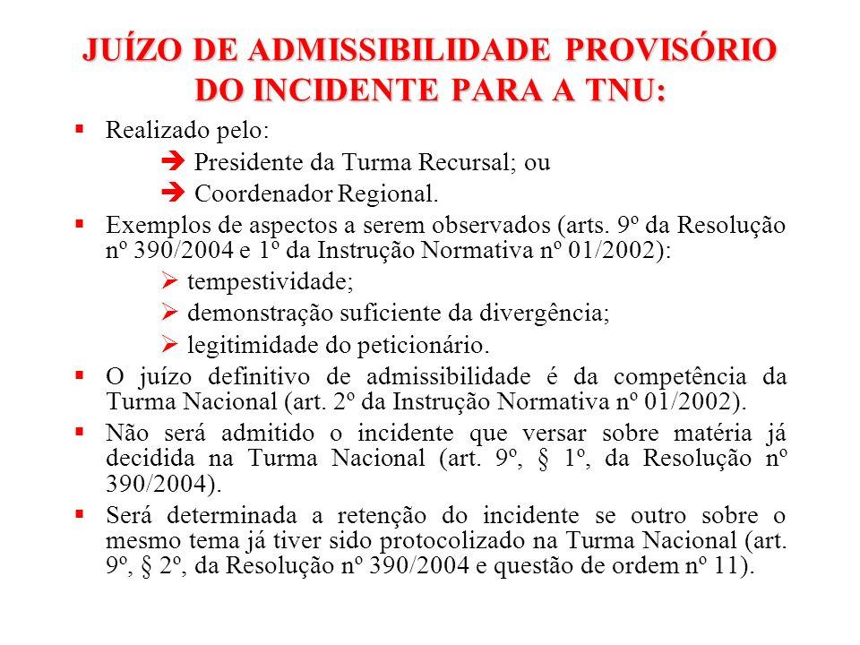 DECISÃO DO PRESIDENTE DA TURMA RECURSAL OU DO COORDENADOR REGIONAL ADMITE O INCIDENTE DE UNIFORMIZAÇÃO DETERMINA A REMESSA DOS AUTOS PARA A TNU NÃO ADMITE O INCIDENTE DE UNIFORMIZAÇÃO REQUERIMENTO DO SUSCITANTE PARA QUE A ADMISSIBILIDADE SEJA ANALISADA PELO PRESIDENTE DA TNU (art.