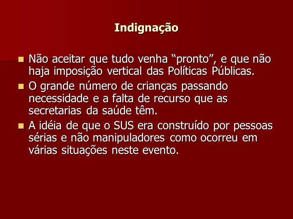 Indignação Não aceitar que tudo venha pronto, e que não haja imposição vertical das Políticas Públicas.