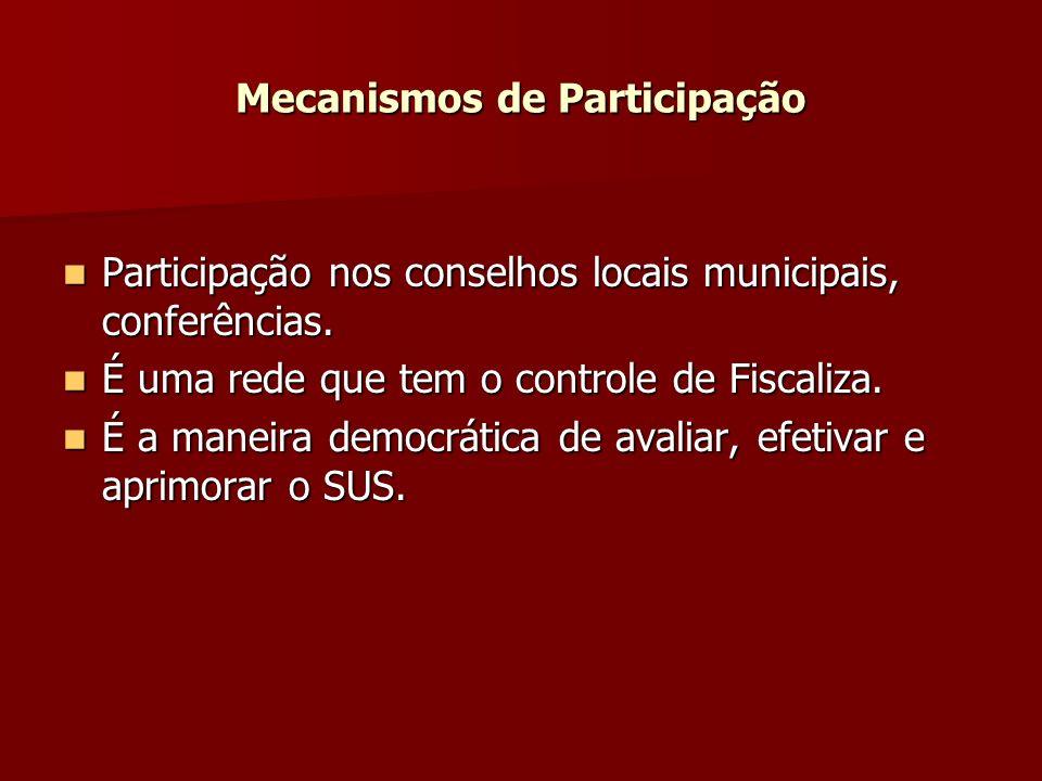 Mecanismos de Participação Participação nos conselhos locais municipais, conferências.