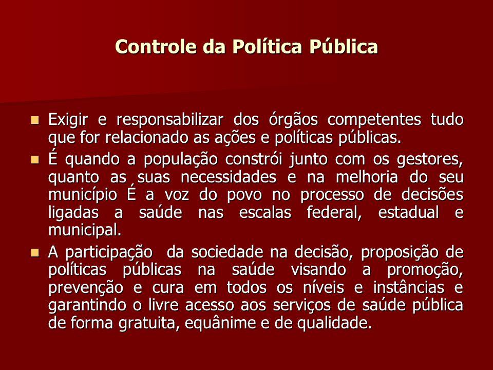 Controle da Política Pública Exigir e responsabilizar dos órgãos competentes tudo que for relacionado as ações e políticas públicas.