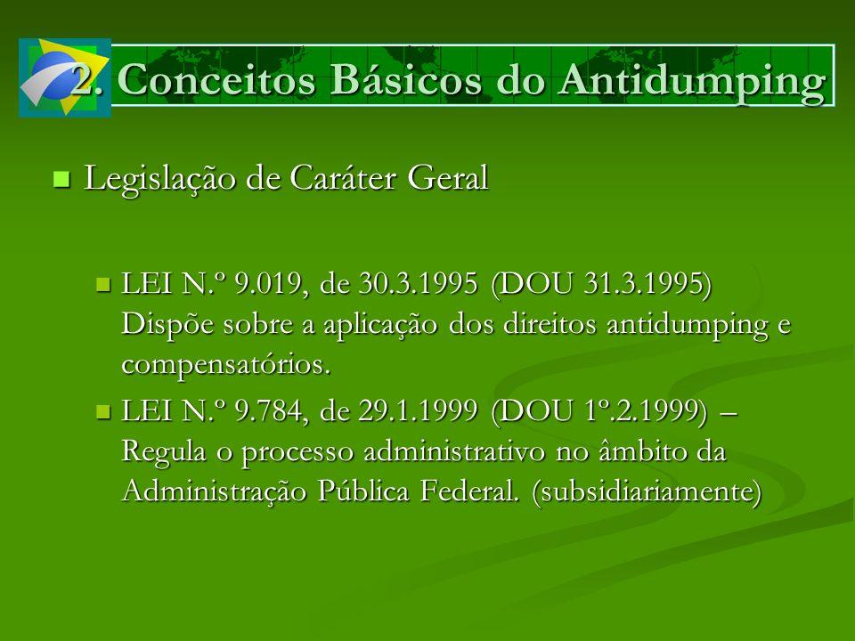 2. Conceitos Básicos do Antidumping Legislação de Caráter Geral Legislação de Caráter Geral LEI N.º 9.019, de 30.3.1995 (DOU 31.3.1995) Dispõe sobre a