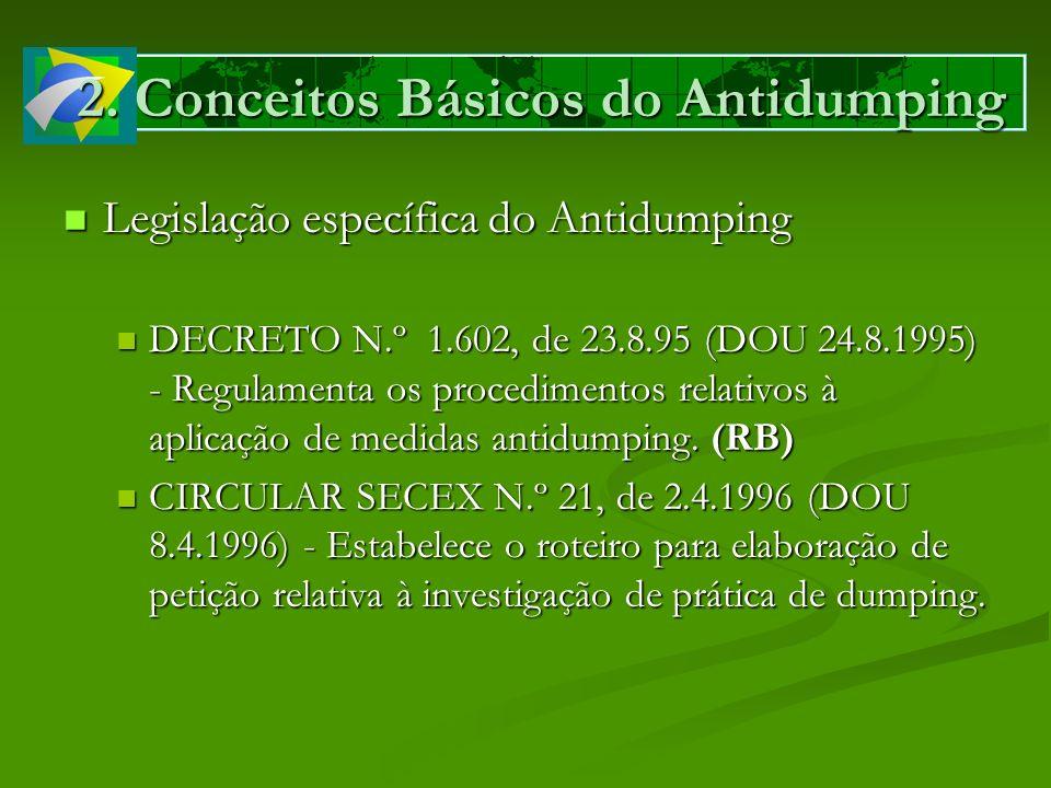 2. Conceitos Básicos do Antidumping Legislação específica do Antidumping Legislação específica do Antidumping DECRETO N.º 1.602, de 23.8.95 (DOU 24.8.