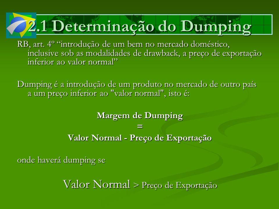 RB, art. 4º introdução de um bem no mercado doméstico, inclusive sob as modalidades de drawback, a preço de exportação inferior ao valor normal Dumpin