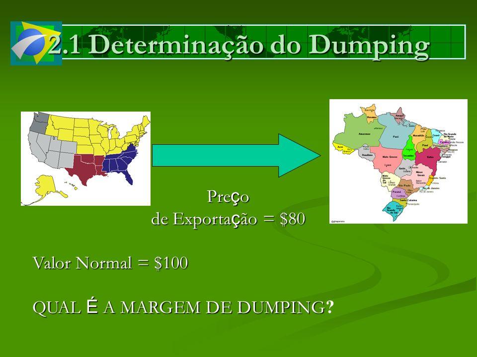 2.1 Determinação do Dumping Pre ç o de Exporta ç ão = $80 Valor Normal = $100 QUAL É A MARGEM DE DUMPING QUAL É A MARGEM DE DUMPING ?