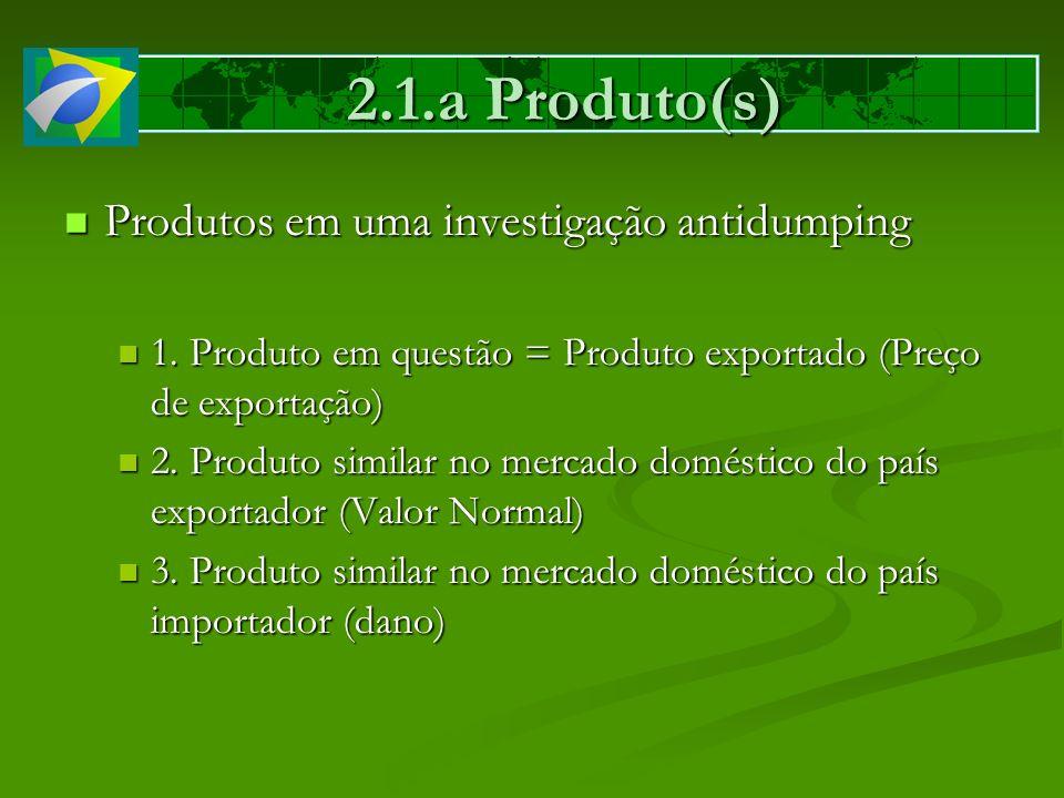 2.1.a Produto(s) Produtos em uma investigação antidumping Produtos em uma investigação antidumping 1. Produto em questão = Produto exportado (Preço de