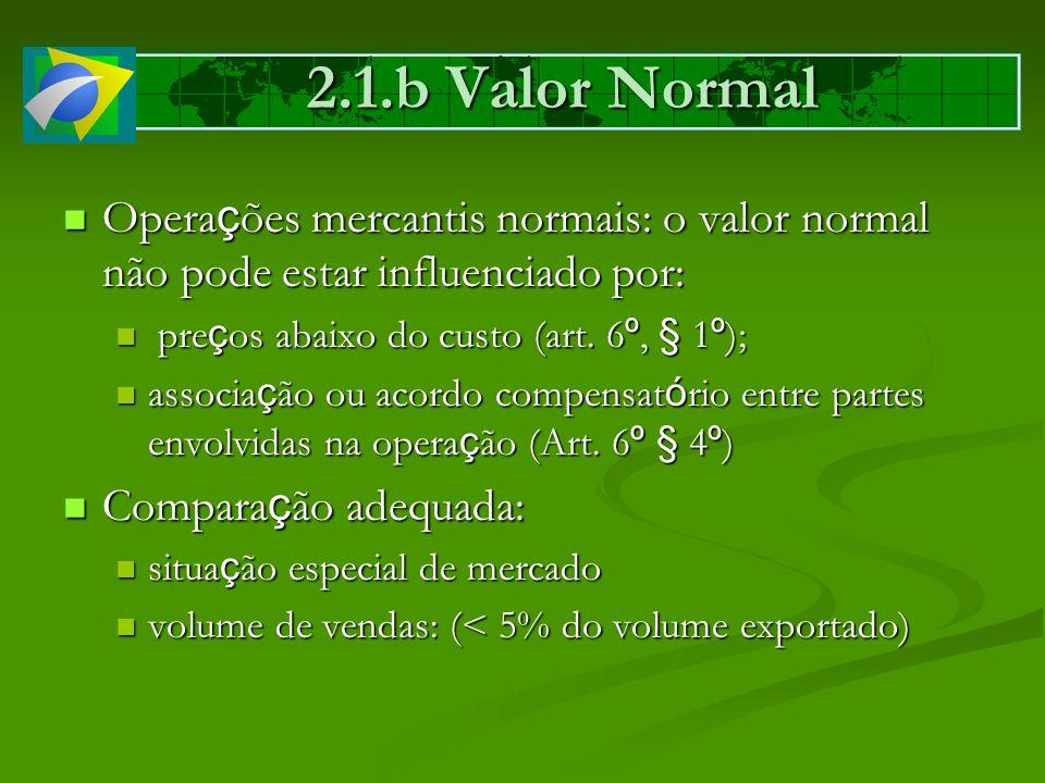 2.1.b Valor Normal Opera ç ões mercantis normais: o valor normal não pode estar influenciado por: Opera ç ões mercantis normais: o valor normal não po