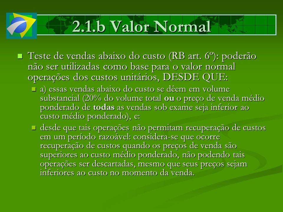2.1.b Valor Normal Teste de vendas abaixo do custo (RB art. 6º): poderão não ser utilizadas como base para o valor normal operações dos custos unitári