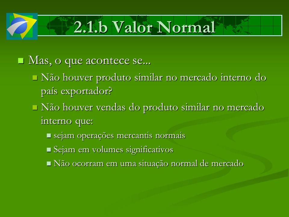 2.1.b Valor Normal Mas, o que acontece se... Mas, o que acontece se... Não houver produto similar no mercado interno do país exportador? Não houver pr