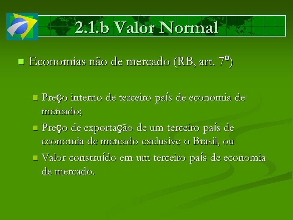 Economias não de mercado (RB, art. 7 º ) Economias não de mercado (RB, art. 7 º ) Pre ç o interno de terceiro pa í s de economia de mercado; Pre ç o i