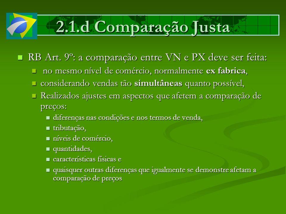2.1.d Comparação Justa RB Art. 9º: a comparação entre VN e PX deve ser feita: RB Art. 9º: a comparação entre VN e PX deve ser feita: no mesmo nível de