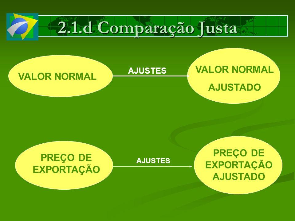 2.1.d Comparação Justa VALOR NORMAL AJUSTES VALOR NORMAL AJUSTADO PREÇO DE EXPORTAÇÃO AJUSTES PREÇO DE EXPORTAÇÃO AJUSTADO