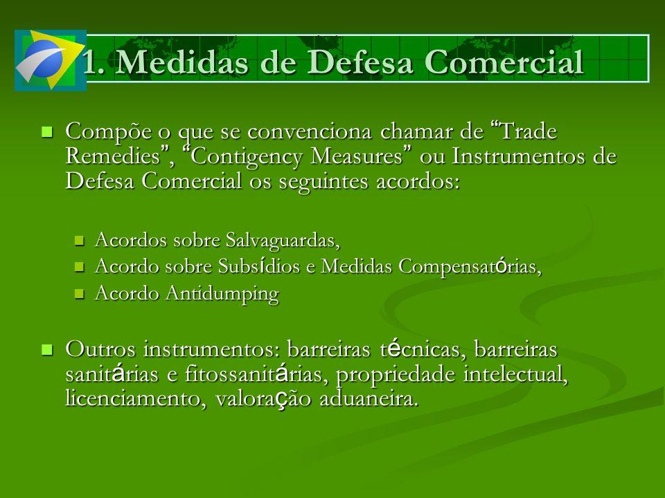 Compõe o que se convenciona chamar de Trade Remedies, Contigency Measures ou Instrumentos de Defesa Comercial os seguintes acordos: Compõe o que se co