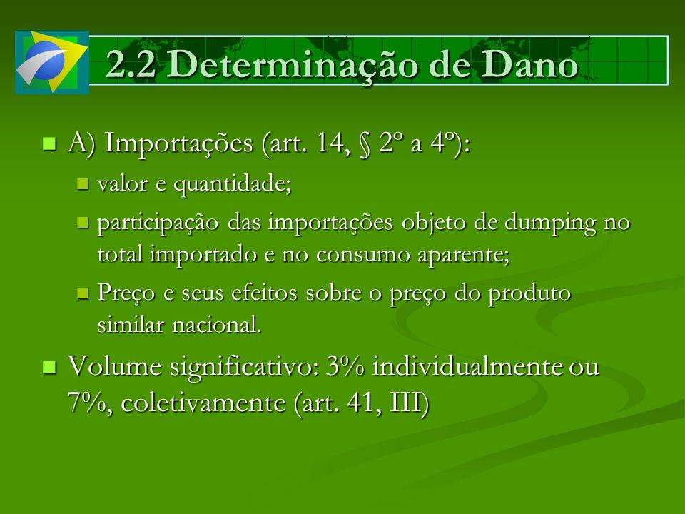 2.2 Determinação de Dano A) Importações (art. 14, § 2º a 4º): A) Importações (art. 14, § 2º a 4º): valor e quantidade; valor e quantidade; participaçã
