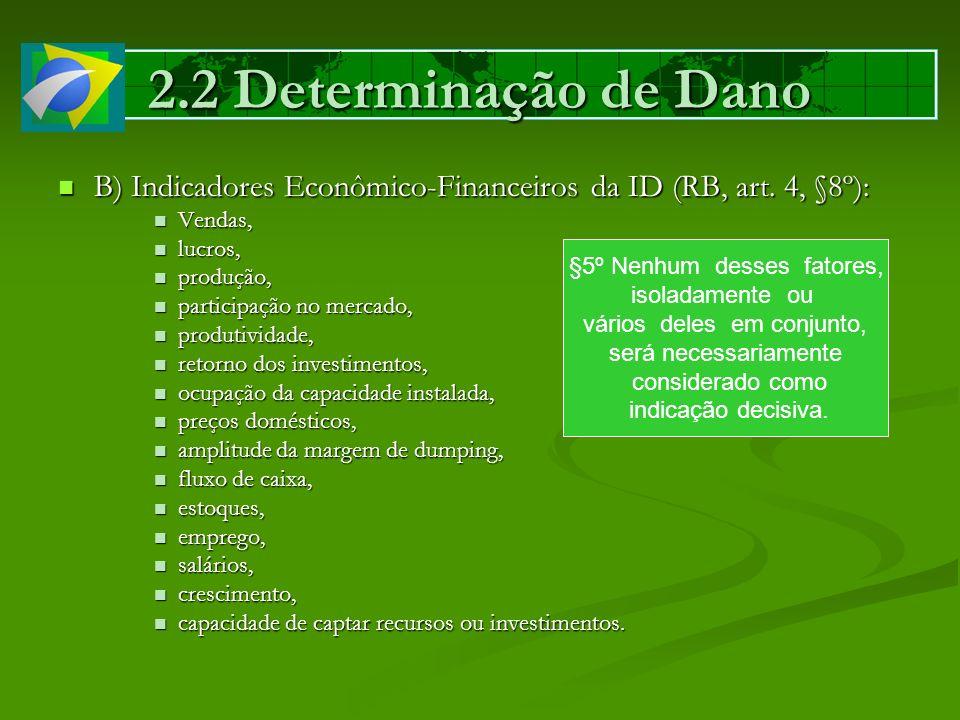 2.2 Determinação de Dano B) Indicadores Econômico-Financeiros da ID (RB, art. 4, §8º): B) Indicadores Econômico-Financeiros da ID (RB, art. 4, §8º): V