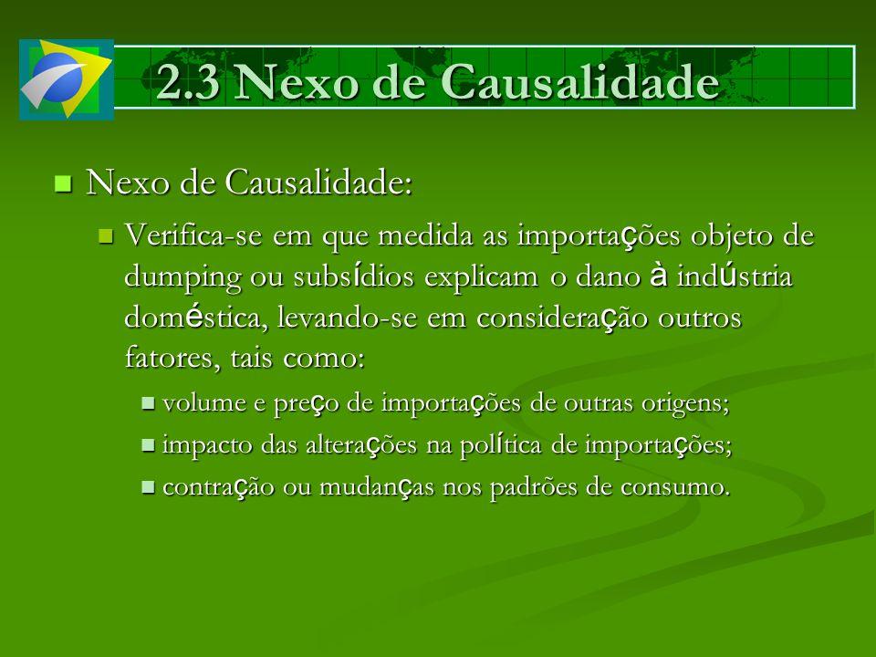 2.3 Nexo de Causalidade Nexo de Causalidade: Nexo de Causalidade: Verifica-se em que medida as importa ç ões objeto de dumping ou subs í dios explicam