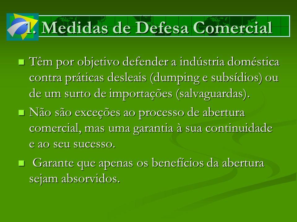 1. Medidas de Defesa Comercial Têm por objetivo defender a indústria doméstica contra práticas desleais (dumping e subsídios) ou de um surto de import