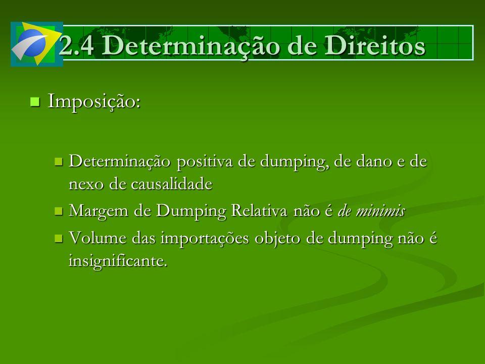 2.4 Determinação de Direitos Imposição: Imposição: Determinação positiva de dumping, de dano e de nexo de causalidade Determinação positiva de dumping