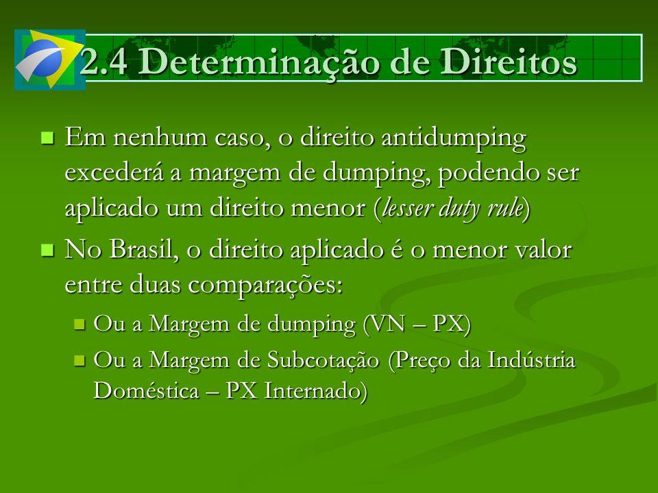 2.4 Determinação de Direitos Em nenhum caso, o direito antidumping excederá a margem de dumping, podendo ser aplicado um direito menor (lesser duty ru