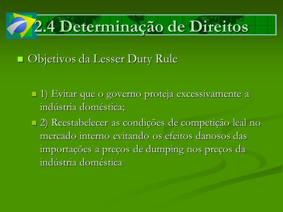 2.4 Determinação de Direitos Objetivos da Lesser Duty Rule Objetivos da Lesser Duty Rule 1) Evitar que o governo proteja excessivamente a indústria do