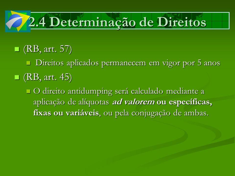 2.4 Determinação de Direitos (RB, art. 57) (RB, art. 57) Direitos aplicados permanecem em vigor por 5 anos Direitos aplicados permanecem em vigor por