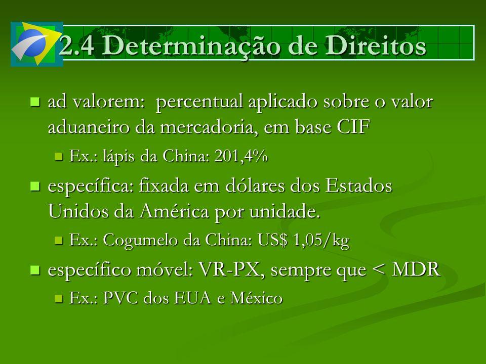2.4 Determinação de Direitos ad valorem: percentual aplicado sobre o valor aduaneiro da mercadoria, em base CIF ad valorem: percentual aplicado sobre