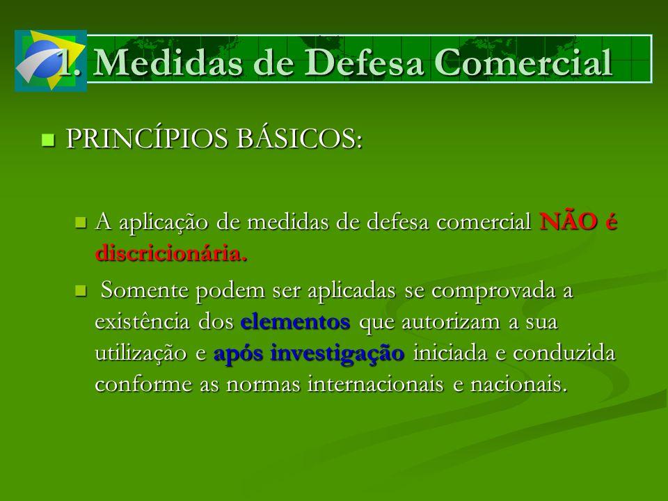 1. Medidas de Defesa Comercial PRINCÍPIOS BÁSICOS: PRINCÍPIOS BÁSICOS: A aplicação de medidas de defesa comercial NÃO é discricionária. A aplicação de